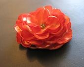 Orange Satin Flower Hair Clips