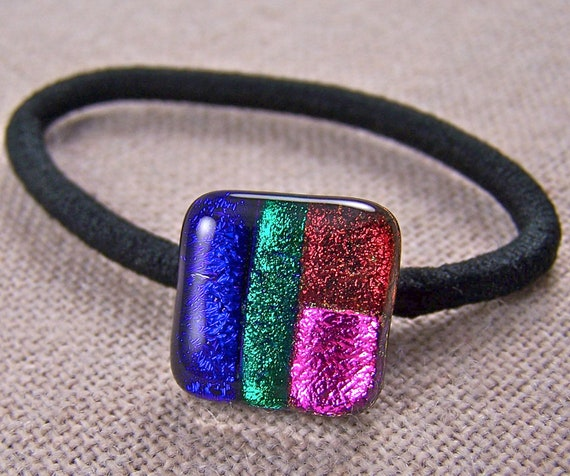 Dichroic Pony Tail Holder - Magenta Pink Cobalt Blue Green Copper Red Patchwork Fused Glass