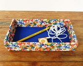 Fabric Wrapped Pencil Tray, Desk Organizer, Accessories Tray for Desktop in an Office, Studio, or Dorm Room