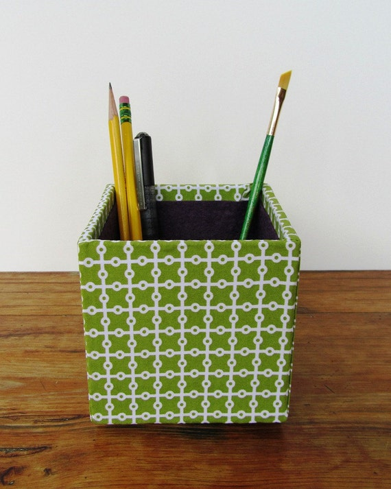 Fabric Wrapped Pencil Cup / Pencil Box, Craft Organizer for the Office, Studio, or Dorm