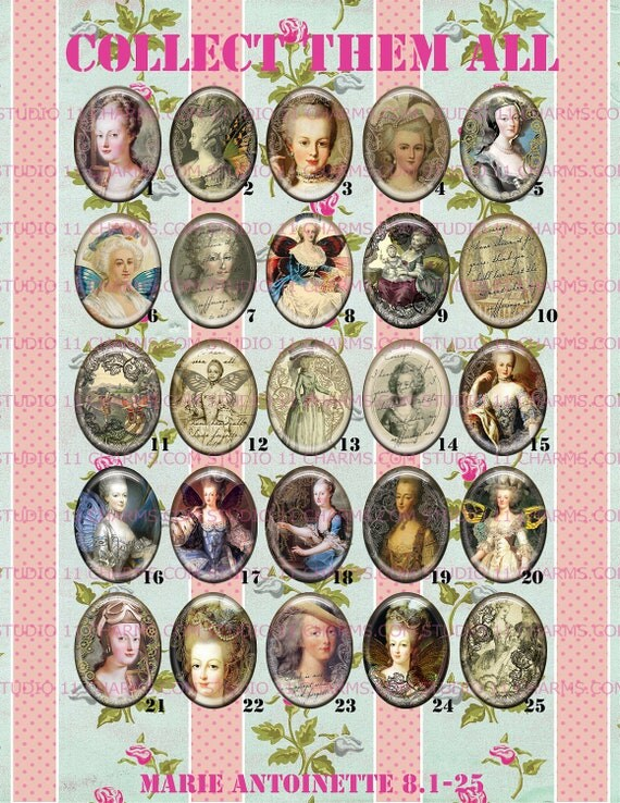 HIGH DOME Faux Ceramic 40x30 or 25x18 Marie Antoinette Steampunk Cameo Cabochon. Marie.1-25