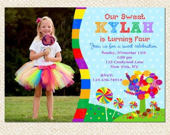 Candyland Birthday Invitations