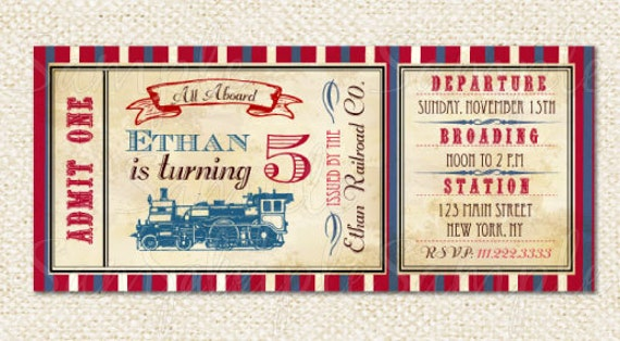 train ticket invitations train birthday party invitations, Party invitations