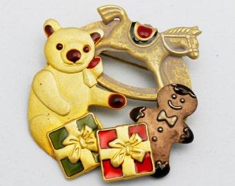 Teddy Bear Holiday Brooch