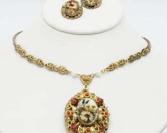 West Germany Vintage Filigree Flower Cameo Necklace Set