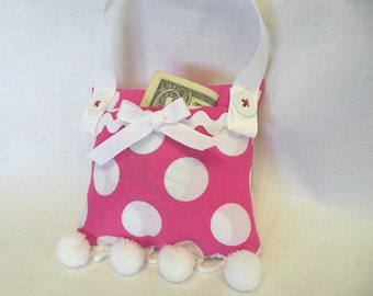 Tooth Fairy Pillow or Purse Toy in Pink and White Polka Dot
