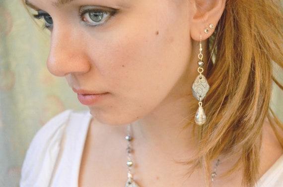 Rhombus geometric earrings in silver polymer clay, spirals pattern, OOAK