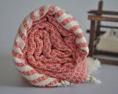 TurKish BaTh ToWel -  Bubble PesHteMal  - Red - Ivory  stripes