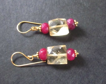 SALE Tiny Baubles Series Ruby, Citrine and gold earrings