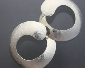 Hammered sliver hoop earrings, large