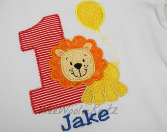 Boys Lion and Balloon Birthday Shirt  Bib Personalized Embroidered Applique Circus Zoo 1st 2nd 3rd Girls