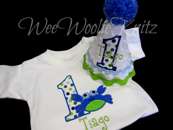 Boys Birthday Party Hat and T shirt Set Personalized Crab You design