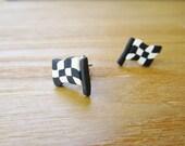 Sporty Girl Earrings... Checkered Flags