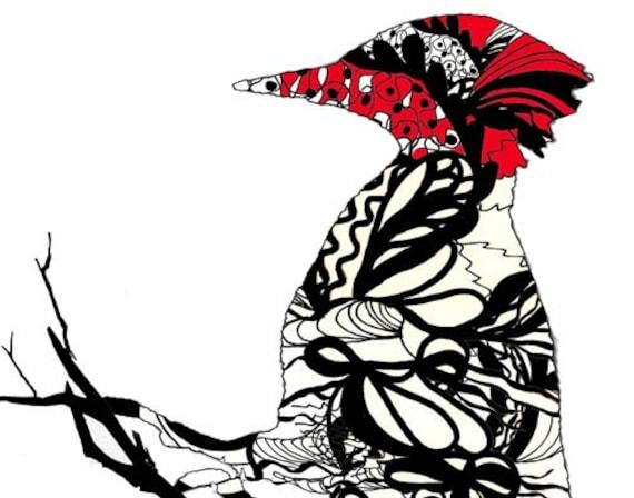 woodpecker painting, downey woodpecker, wildbird wall art, black and white painting, woodpecker picture, bird artist, bird poster, wall art