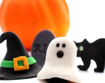 12 Halloween Fondant toppers for cupcakes or cookies