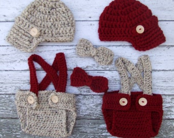 Vintage Twin Photography Prop Set in Oatmeal and Cranberry Available in 4 Sizes- MADE TO ORDER