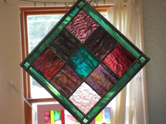 Stained Glass Sea Green and Purple stained glass  suncatcher with turquoise in the middle