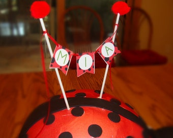 Little Lady Bug Pennant Banner Cake Topper