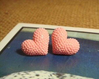 Shiny Solid Peach Big Heart Candy Stud/Post Earrings (E644)