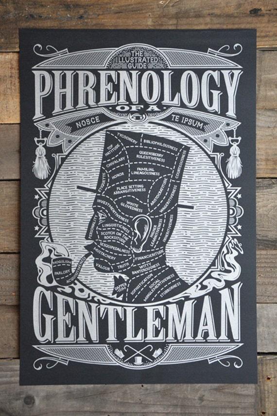 """Phrenology of a Gentleman POSTER 12"""" x 18"""""""
