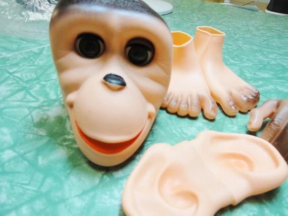 Monkey, Chimpanzee, Ape, Vintage Doll Parts, Monkey Face Feet Hands Ears