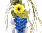 French Country Blue and Yellow Frosted Glass Wine Bottle Light, Night Light, Bottle Lamp