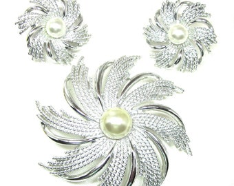 SARAH COVENTRY Silver Pinwheel Brooch and Earrings,  Faux Pearl Center - Pinwheel, Mint