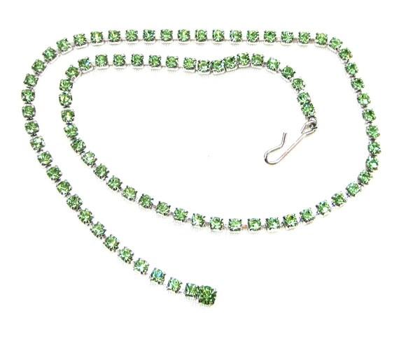 Vintage Green Peridot Rhinestone Necklace, Estate, Rhinestone Necklace, Wedding, Princess