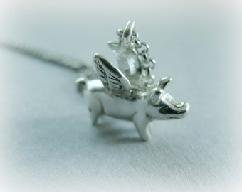 Flying Pig Necklace (When Pigs Fly) - Token of Hopes and dreams - Sterling Silver silver hope necklace - Steling Silver Pig Necklace