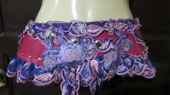 vintage inspired bohemian pink leather belt/tutu with stud detail and vintage motifs....