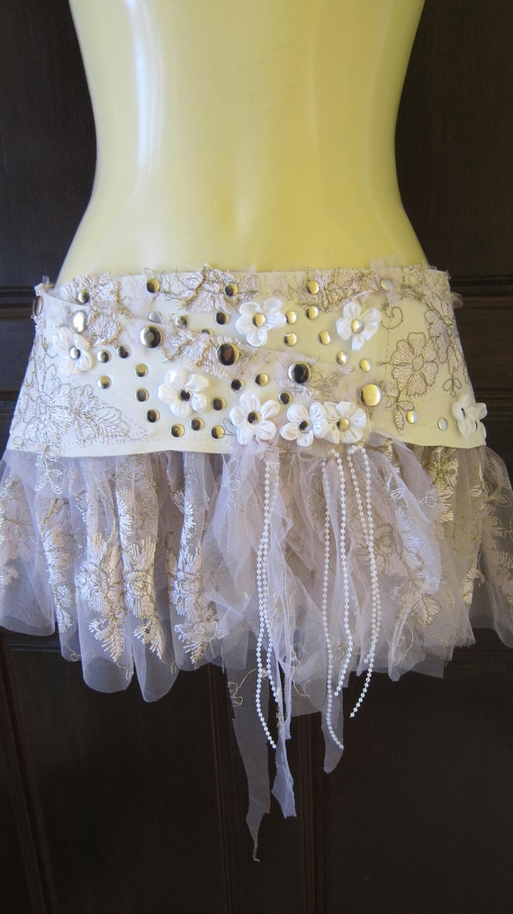 vintage inspired white leather and lace mini skirt belt/tutu with roses and stud detail....