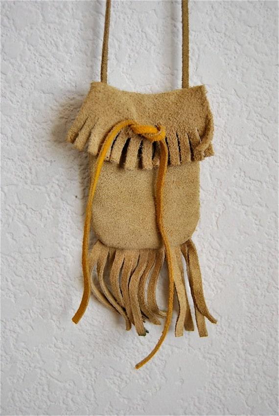 vintage medicine bag, tan suede fringed drawstring neck pouch