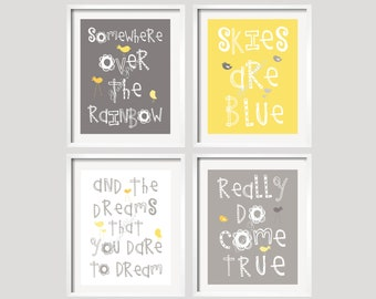 Baby Boy Wall Art prints, nursery decor, Somewhere Over The Rainbow Yellow Grey, Girl Boy Nursery Art Prints 8x10 inches by YassisPlace 061