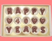 40th Wedding Anniversary Gift for Parents Couple Unique Happy 40 years Large Milk Chocolate Letters Creative Unusual by What Candy Says LLC