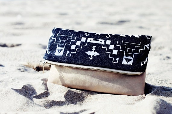 SALE Tribal Pattern Printed  Leather Pouch Glitter No. ZP-106