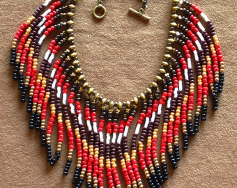Native American necklace, Native American Jewelry, Beaded Necklace, Boho Necklace, Statement Necklace, Tribal Necklace