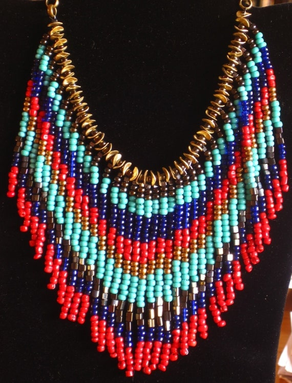 RESERVED FOR JENNY Native American style fringed necklace in red, turquoise, gold and royal blue