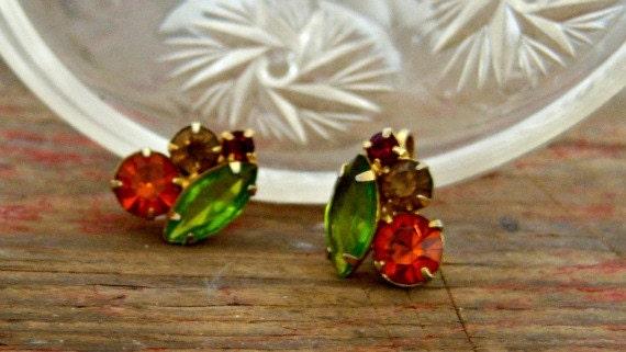 Vintage Orange Green Rhinestone Clip Earrings