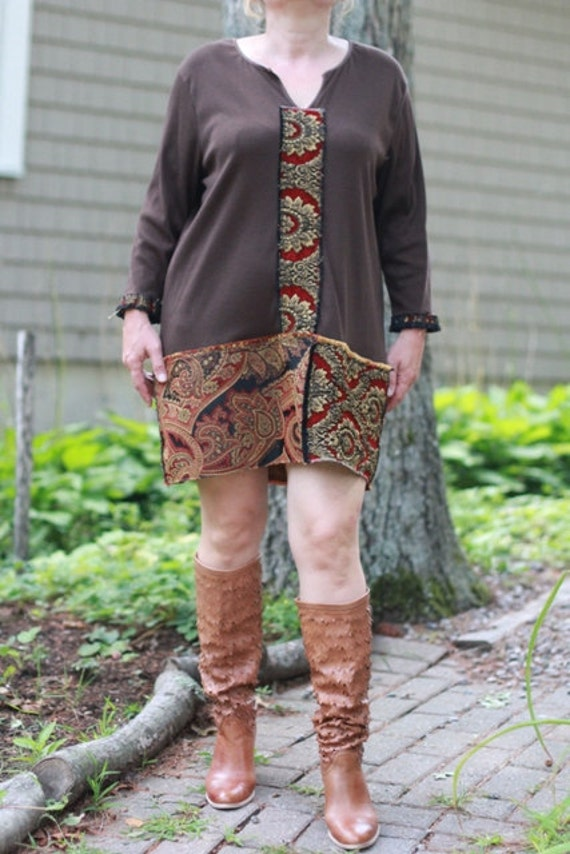Red tag- Eco-Friendly/ Upcycled / Beautiful Brown and Gold Tunic / Mini Dress/ Plus size / One of a kind by Europeninboston