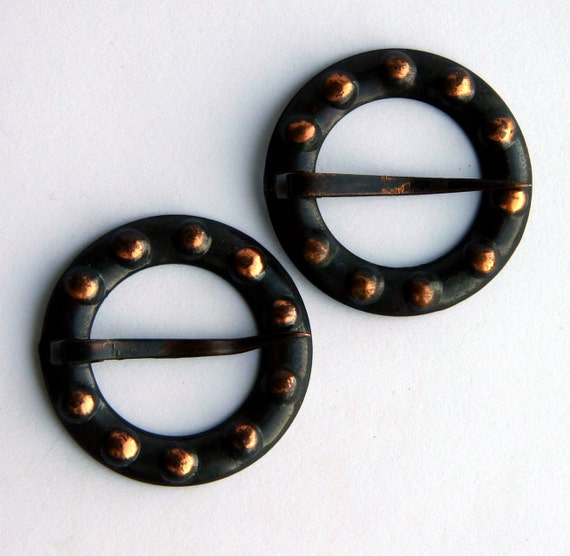 Vintage Pair of Rustic Black and Copper Metal Tribal Ethnic Medieval Viking Round Pin Brooches