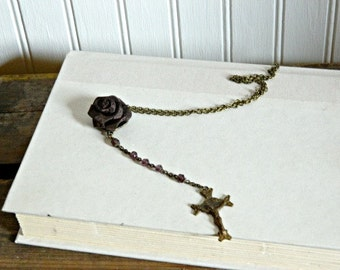 Cross Necklace Rosary Style Mothers Day Religious Rose Repurposed One Of a Kind
