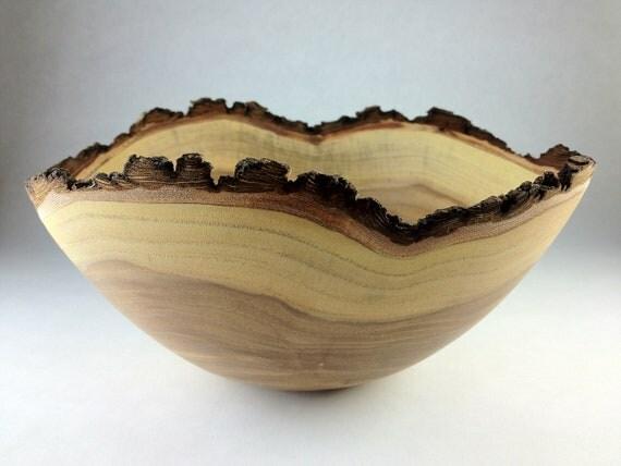 Handmade Wooden Bowl / Natural Bark Edge Elm   (1242)