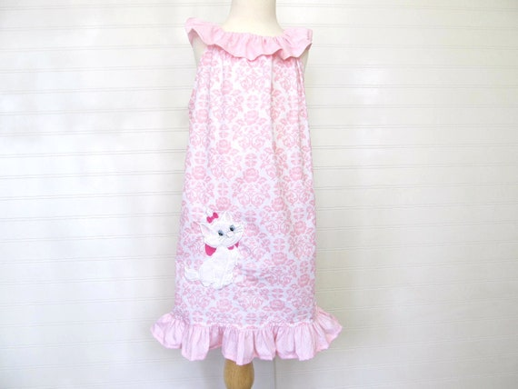 Custom Embroidered Marie-Aristocats Ruffle Neck Dress - Available in Sizes 12 mo, 2T, 3T, 4, 5 and 6