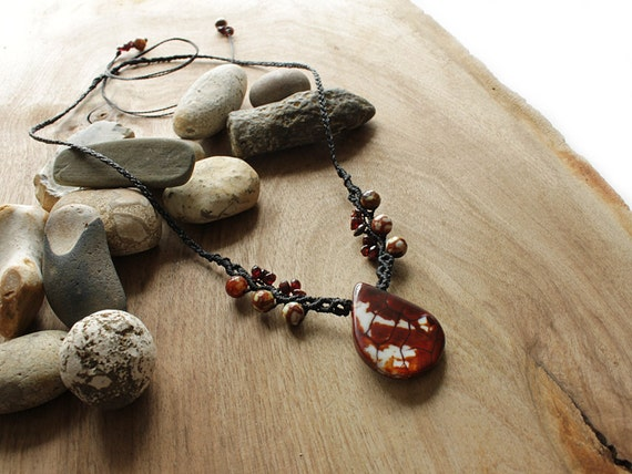 Fire Agate Pendant with Garnet beads
