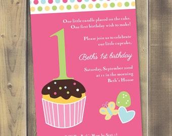 Little Cupcake Birthday Invitation - Printable PDF