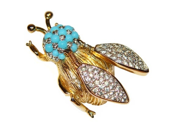 Nettie Rosenstein Brooch, Winged Trembler Insect, Signed, Rare, Collectible, Figural, 1940s