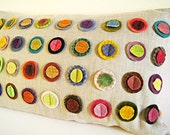 "Colorful Wool  Circles Organic Linen Pillow Cover/ Decorative Pillow/ 12""x20""/ OOAK/ Made To Order"