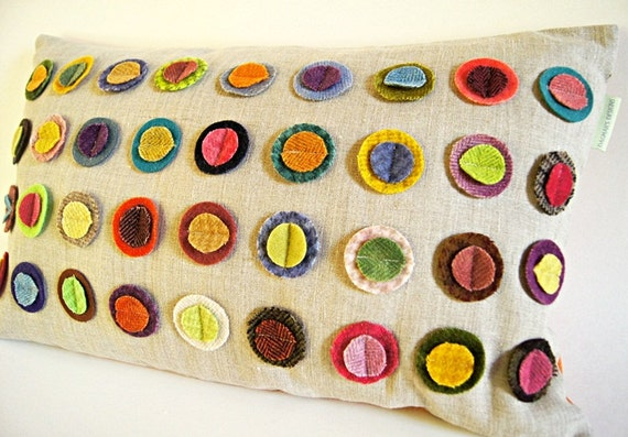 """Colorful Wool  Circles Organic Linen Pillow Cover/ Decorative Pillow/ 12""""x20""""/ OOAK/ Made To Order"""