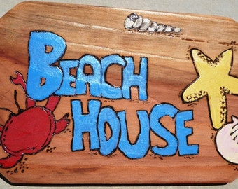"Beach House Sign 7.5"" x 12.5"""