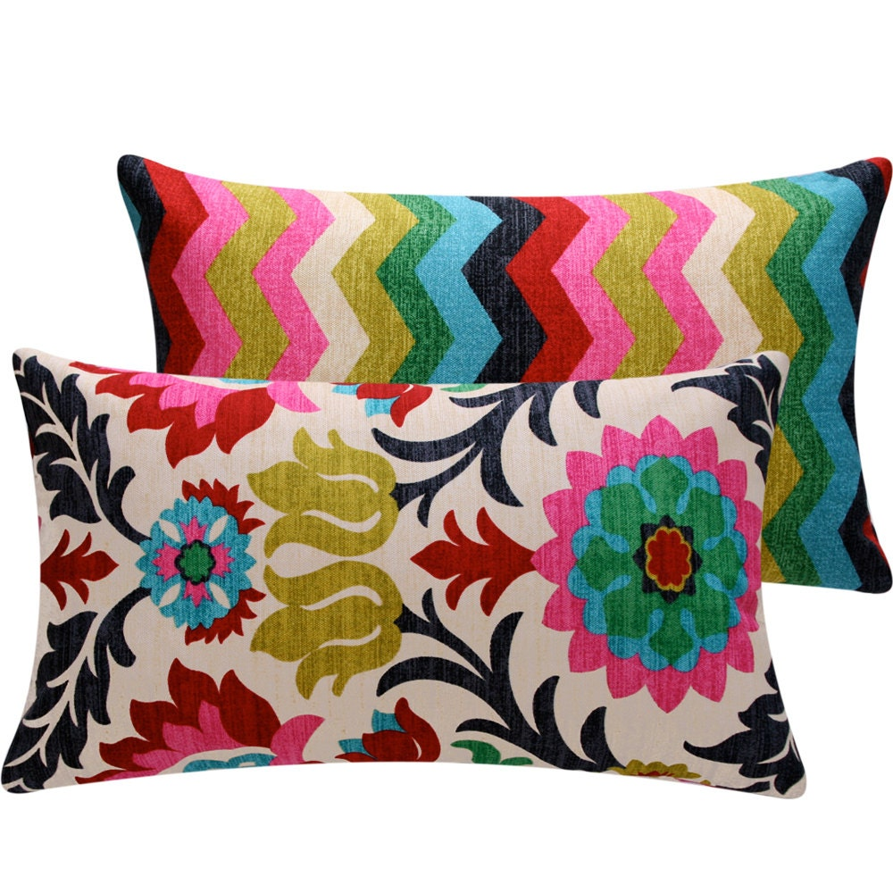 Decorative Pillows For Couch Etsy : Colorful Floral Chevron Throw Pillow Cover by ChloeandOliveDotCom
